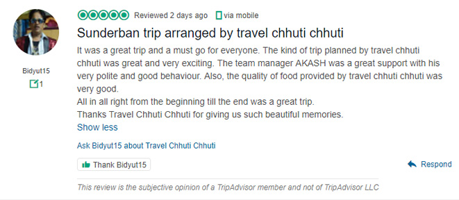 It was a great trip and a must go for everyone. The kind of trip planned by travel chhuti chhuti was great and very exciting. The team manager AKASH was a great support with his very polite and good behaviour. Also, the quality of food provided by travel chhuti chhuti was very good. All in all right from the beginning till the end was a great trip. Thanks Travel Chhuti Chhuti for giving us such beautiful memories.