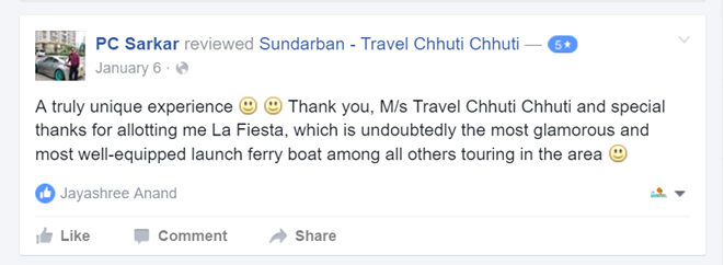 A truly unique experience :) :) Thank you, M/s Travel Chhuti Chhuti and special thanks for allotting me La Fiesta, which is undoubtedly the most glamorous and most well-equipped launch ferry boat among all others touring in the area