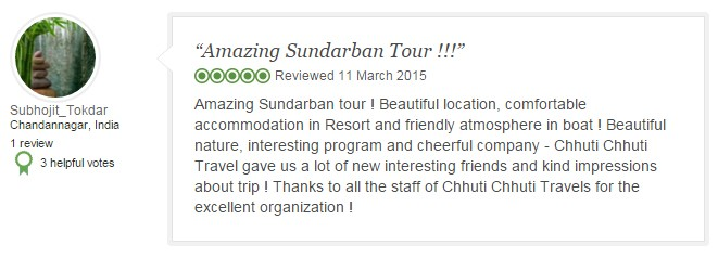 Amazing Sundarban tour ! Beautiful location, comfortable accommodation in Resort and friendly atmosphere in boat ! Beautiful nature, interesting program and cheerful company - Chhuti Chhuti Travel gave us a lot of new interesting friends and kind impressions about trip ! Thanks to all the staff of Chhuti Chhuti Travels for the excellent organization !